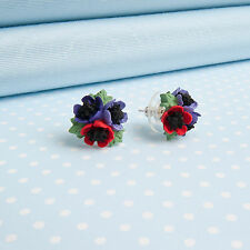 ANEMONE POSY  EARRINGS    hand-painted flower jewellery    MADE IN WALES,UK