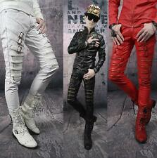 Men's Slim Fit PU Leather Buckle Motorcycle Punk Nightclub Gothic Pants Trousers