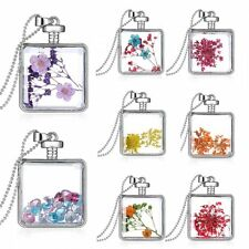 Square  Locket Living Memory Pendant Long Sweater Chain Dried Flower Necklace
