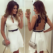 Sexy Lady Sleeveless Lace Backless Short Dress with Waistband for Evening Party