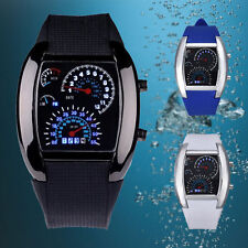 Mens Women Fashion Aviation Turbo Dial Flash Digit LED Watch Gift Sports Watches