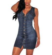 New Sexy Women Ladies Denim Button Front Sleeveless Shirt Dress Fashionable