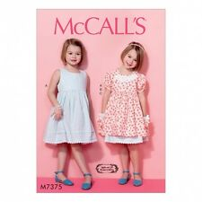 McCalls Girls Easy Sewing Pattern 7375 Sleeveless Dress, Puff Sleeve Overdres...