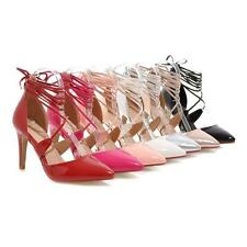 Womens Ankle Strap High Heel Stilettos Pointed Toe Shoes Party Pumps Plus Size