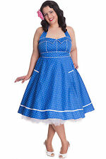 HELL BUNNY Vanda ~ Rockabilly Vintage 50s Polka Dot Dress Psychobilly Plus Size