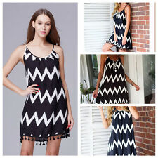 Fashion Women Summer Spaghetti Striped Tassel Chiffon Slim Beach Dresses Gift