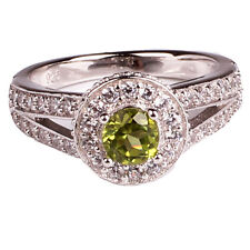 5mm Round Cut Green Peridot Wedding Ring .925 Sterling Silver August Jewelry