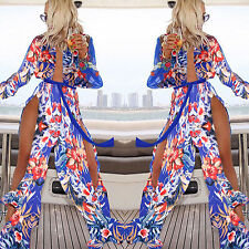 New Sexy Lady Summer Beach Deep V Floral Split Maxi Long Dress Chiffon Sundress