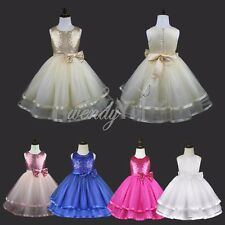 GIRLS Flower Evening Formal Bridesmaid Party Princess Prom Wedding Sequin Dress