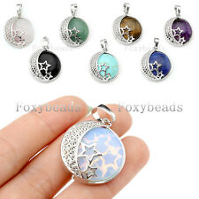 Mens Unisex Silver Plated Star Moon Starry Charm Gems Bead Pendant fit Necklace