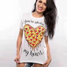 Women Basic White T-shirts Letter Print Pizza Heart Tee Casual Short Sleeve Tops