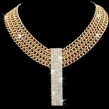 Multi Curb Chain Link Pave Crystal BLING Statement Necklace Long Dangle Gold GP