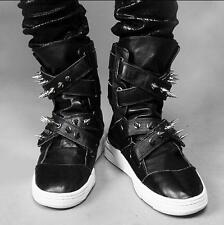 Men's Ankle Boot Punk Rocket Spike Rivet Casual Sneaker High Top Nightclub Shoes