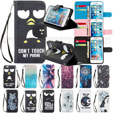PU Leather Wallet Case Flip Stand Cover + Hand Wrist Strap for Various Cellphone