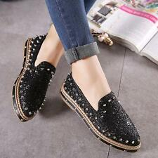 Casual Women Glitter Stud Rivet Flats Slip On Espadrille Flat Loafer Shoes New