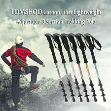 Carbon Fiber Trekking Pole Adjust Telescopic Hiking Walking Stick 3 Section K8Z7