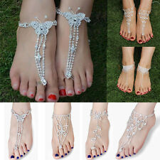 Bridal Sexy Crystal Rhinestone Chain Toe Ring Ankle Bracelet Beach Foot Jewelry
