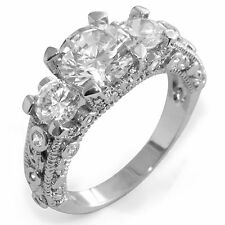Round Cubic Ziconia Three Stone Wedding Engagement Anniversary Ring 925 Silver