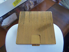 Vintage 50'S Gold Tone Coty Make-Up Ridged Compact Case W/Mirror & Powder Puff