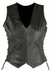Xelement Ladies Side Lace Crusier Genuine Leather Motorcycle Vest (S-3XL)