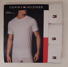 3 TOMMY HILFIGER MENS COTTON WHITE CREW NECK S M L XL XXL T-SHIRTS UNDERSHIRTS
