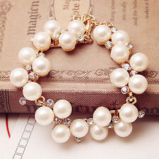 Fashion Charm Cuff Bracelet Women Pearl Crystal Rhinestone Bangle Jewelry Gift