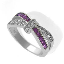 Purple Amethyst & CZ Criss Cross Ring Band White Gold Filled Jewelry Size 6-10