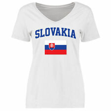 Slovakia Women's Flag Slim Fit T-Shirt - White - Country Flags