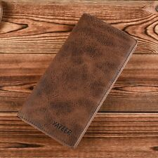 Men's Leather Bifold Bussiness Card holder Wallet  Checkbook Purse Long Clutch