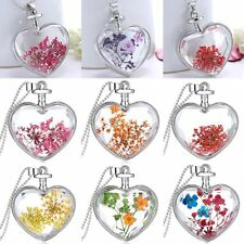 Heart Glass Locket Pendant Real Dried Pressed Flower Long Sweater Necklace Party
