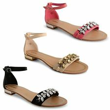 New Womens Ladies Low Block Heel Open Toe Sandals With Jewel Trim Shoes Sizes