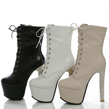 Women's Shoes Platform High Heels Pumps Zip Lace Up Ankle Boots AU All Size b769