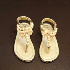 Girls Kids T-Strap Sandals Summer Bowknot Slip-On Soft Beading Pearl Dress Shoes