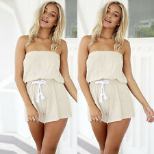 Fad Women's Summer Tunic Casual Jumpsuits Ladies Sexy Shoulder Off Short Rompers