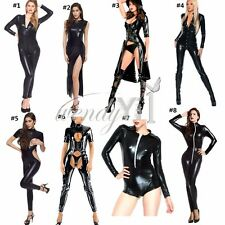 Sexy Womens Faux Leather Wetlook Costume Catsuit Lad Jumpsuits Fancy Dress Party
