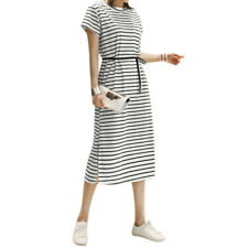 Women Short Sleeves Stripes Split Sides Belted Mid-Calf Dress