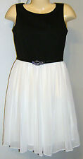 Charter Club Dress Size 4 Black White New with Tags Rhinestone Belt Buckle