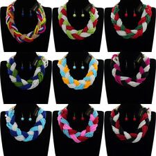 Fashion Gold Chain Multi-Color Resin Pearl Chunky Choker Statement Bib Necklace