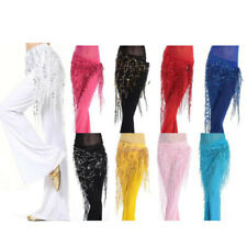 Womens Dancing Costume Belly Dance Hip Skirt Scarf Wrap Sequins Fringe Tassel