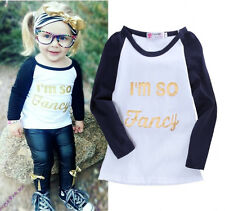 New Kids Baby Girls Letter Print Summer Long Sleeve Tops T-shirt Shirts Clothes