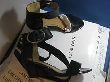 NIB $120 new  Nine West Ventana Ankle Strap Wedges Leather Sandal DRESS/CASUAL
