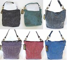 NEW HANDBAG EXPRESS STUDDED CRYSTALS,BLING,BRAIDED LEATHERETTE,SILVER+DUST BAG