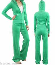 NWT JUICY COUTURE Lily P Green J Bling  Velour Hoodie Pants Set Tracksuits