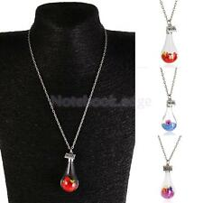 Multicolour Wish Crystal Dry Flower Current Bottle Necklace Water Drop Jewelry