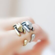Cute 3D Animal Hare Silver/Bronze Knuckle Rings Women's Opening Ring Jewelry