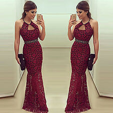 Sexy Women Halter Backless Lace Slim Evening Cocktail Party Prom Gown Long Dress