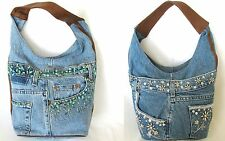 NEW BLUE JEAN DENIM FAUX TURQUOISE+SILVER FLORAL BEADS HOBO+HAND BAG+PURSE