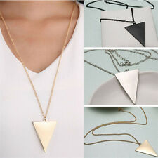 Women's Punk Fashion Triangle Pendant Retro Long Chain Sweater Necklace Jewelry