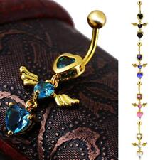 Angel wings Belly Button Dangle Navel Ring Barbell Body Pierce Jewelry-5 colors