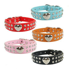 Bling Rhinestones Crystal Heart Leather Collar Adjustable Pet Dog Cat Puppy New